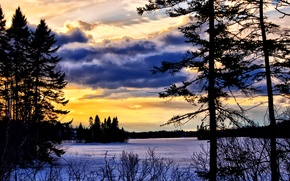 Picture Canada, river, trees, nature, sunset, winter, autumn, lake, sun, dawn, orange, fall, purple color