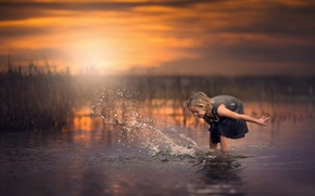 Picture water, laughter, splash, girl