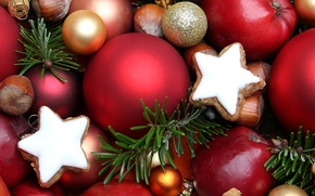 Picture balls, toys, food, New Year, cookies, Christmas, sweets, red, stars, nuts, gold, holidays