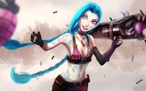 Picture look, girl, Bazooka, art, lol, League of Legends, jinx, Loose Cannon