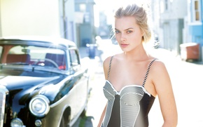 Wallpaper Sunny, Margot Robbie, blonde, actress, car, hairstyle, street, Margot Robbie, dress