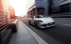 Picture Auto, The city, Porsche, Convertible, Grey, The front, Boxter