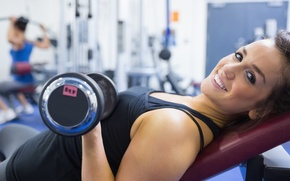 Picture smile, model, workout, fitness, dumbbell