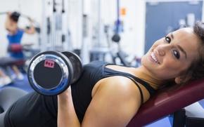 Wallpaper fitness, dumbbell, workout, model, smile