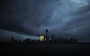 Picture clouds, the city, overcast, Apocalypse, island, New York, hurricane, blackout