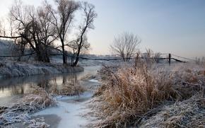 Wallpaper frost, landscape, river, dawn