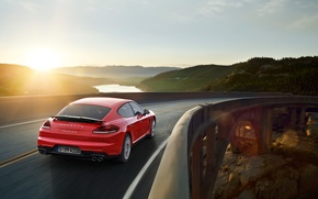 Wallpaper 2015, bridge, Panamera, Porsche, Panamera, GTS, Porsche, sunset