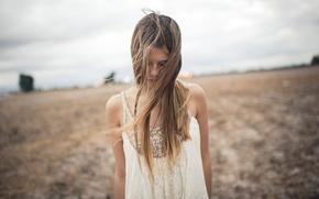 Wallpaper field, girl, mood
