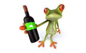 Picture wine, graphics, bottle, frog, Free frog 3d