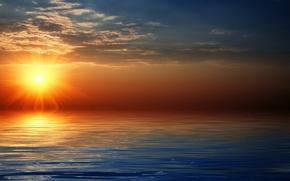 Wallpaper sea, the sun, the sky, horizon, clouds, sunset