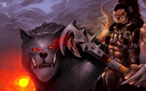 Picture wolf, art, axe, Orc, warcraft