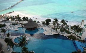 Picture sea, tropics, Palma, pool, Bungalow