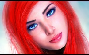 Picture look, face, background, blue eyes, Ariel, the little mermaid, red hair