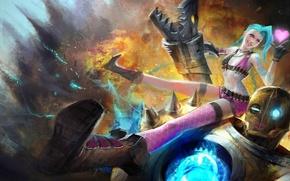 Picture girl, weapons, fire, robot, explosions, art, heart, League of Legends, LoL, Jinx