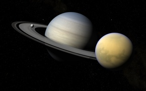 Picture stars, space, Saturn, Enceladus, Titan