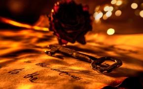 Picture letter, rose, key, Love letter