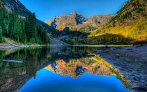 Picture autumn, trees, landscape, mountains, lake