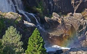 Picture rock, stones, rainbow, Waterfall, thresholds