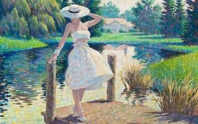 Picture girl, lake, figure, picture, painting, Arthur Saron Sarnoff, Pin-ap