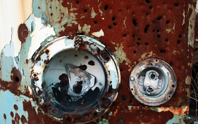 Picture headlight, rust, time, machine, bus, metal