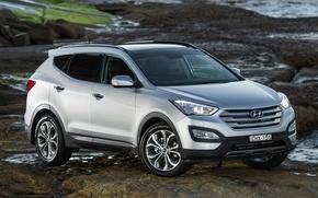 Picture stones, grey, background, jeep, Hyundai, the front, crossover, Santa Fe, Santa Fe, Hyundai