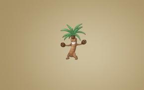 Picture smile, Palma, tree, plant, coconut, minimalism, light background