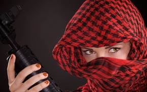 Picture look, girl, weapons