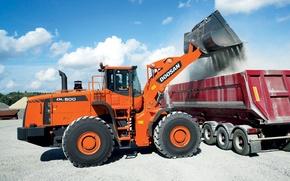 Picture dirt, truck, construction, wheelloader, doosan, dl500