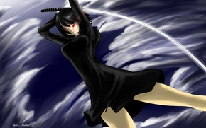 Picture katana, blow, vortex, red eyes, madness, Durarara, obsessed, Anri Sonohara
