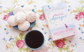 Picture flowers, morning, book, marshmallows