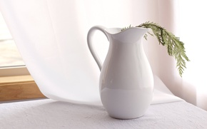 Picture table, branch, window, curtain, the white pitcher