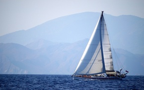 Picture sea, mountains, yacht, sail, beautiful, background.