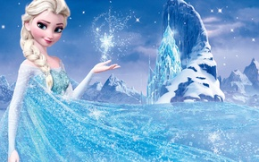 Picture snow, mountains, star, ice, Frozen, Queen, Queen, snowflake, Walt Disney, animation, Walt Disney, 2013, Elsa, ...