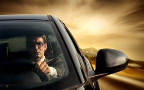 Picture style, speed, male, driving, car