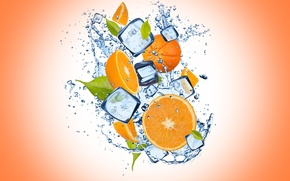 Picture ice, water, drops, orange, ice, orange background, water, slices, orange, drops, cloves, orange background