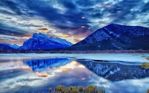 Picture winter, mountains, lake, Canada, Albert, twilight, national Park, Banff