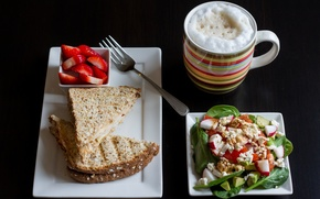 Picture Breakfast, strawberry, salad
