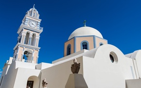 Picture Santorini, Greece, Church, the bell tower
