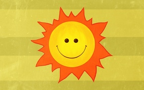 Picture the sun, rays, joy, smile, mood, figure, minimalism, smile, sun