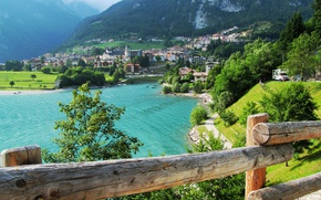 Picture forest, trees, home, mountains, Italy, lake, Molveno