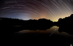 Picture trees, circles, night, lake, twilight, starry sky, shooting