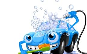 Picture car, machine, foam, water, bubbles, abstraction, art, machine, blue, car wash, character, fun, wallpaper., wash, …