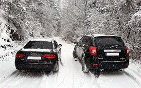 Picture Audi, chevrolet, winter, snow, bulgaria, captiva