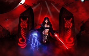 Picture girl, weapons, characters, Star Wars, art, columns, star wars