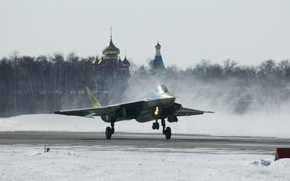 Wallpaper the plane, fighter, T-50, RUSSIAN AIR FORCE, dry