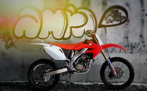 Picture white, red, wall, motorcycle, grafiti
