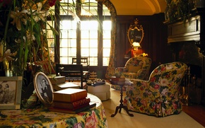 Wallpaper books, mirror, window, chairs, table, English retro style, in the photos