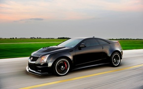Picture Cadillac, Auto, Tuning, Black, Cadillac, CTS-V, Hennessey, Coupe, In Motion