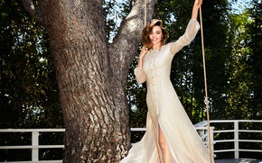 Picture smile, swing, tree, model, rope, dress, hairstyle, brown hair, beauty, photoshoot, the parapet, Miranda Kerr, …