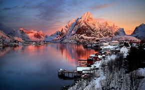 Wallpaper winter, the sky, sunset, mountains, morning, North